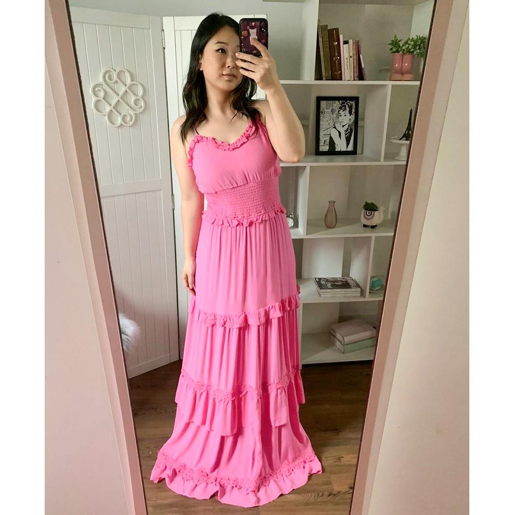 Vestido Longo Rosa Alcinha com Renda