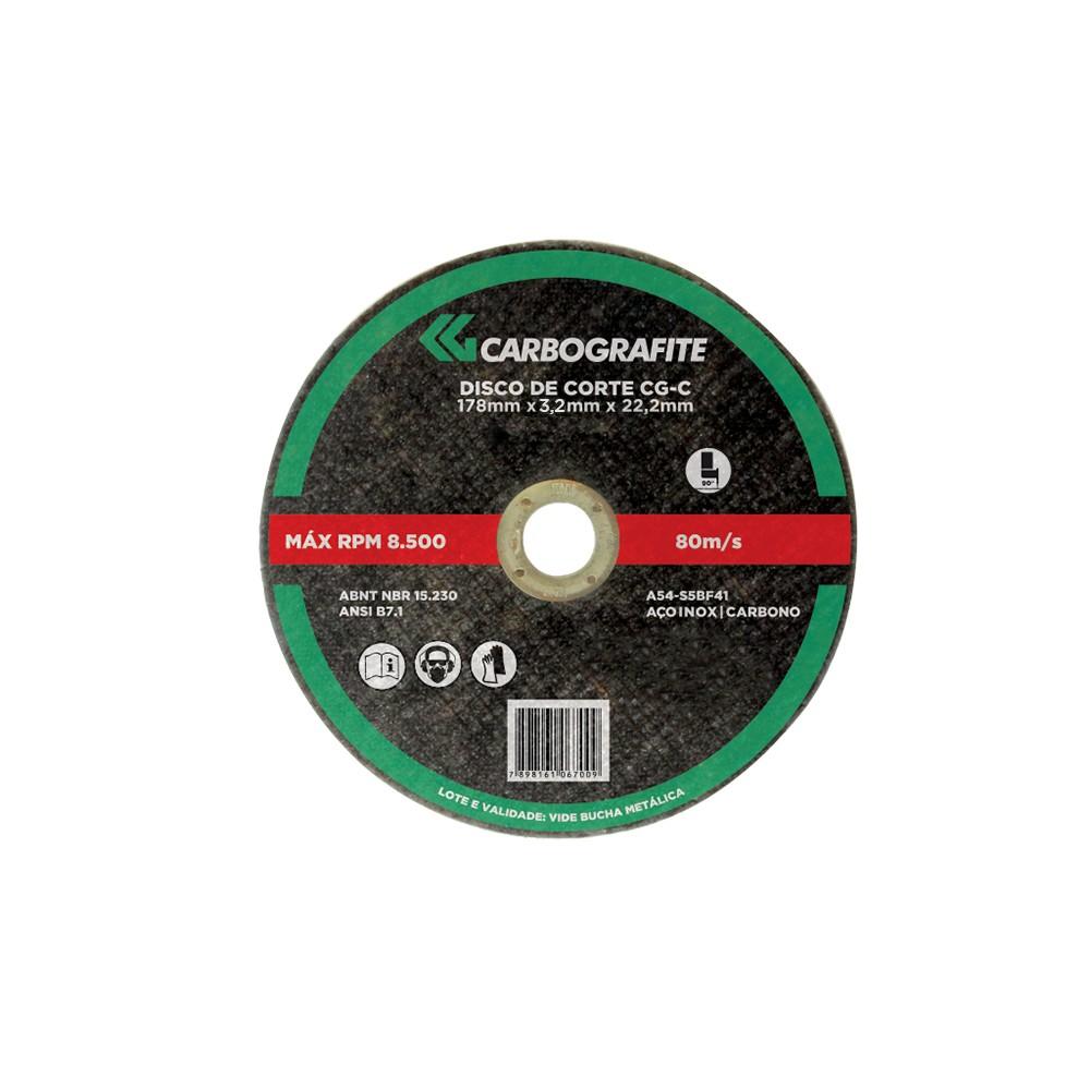 DISCO DE CORTE CG-C - AÇO CARBONO E METAIS CARBOGRAFITE 178 X 3,2 X 22,2MM