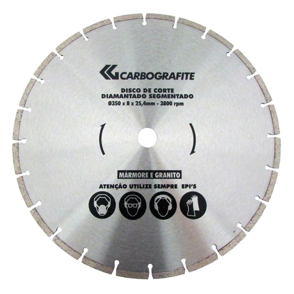 DISCO DIAMANTADO SEGMENTADO CARBOGRAFITE 350 X 8 X 25,40MM