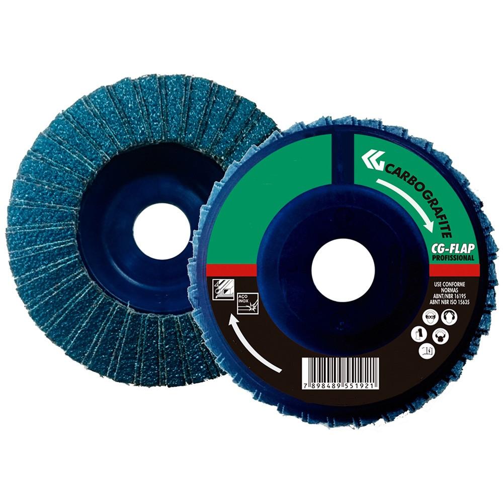Disco Flap CARBOGRAFITE Zircônio Profissional - Nylon Reto - 115mm - Grão 80
