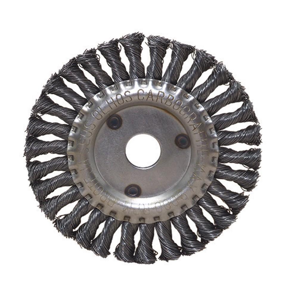 """Escova de Aço Carbono CARBOGRAFITE Circular Trançada 4 1/2"""" x 1/4"""" x 7/8"""" - 9000 Rotação (rpm)"""
