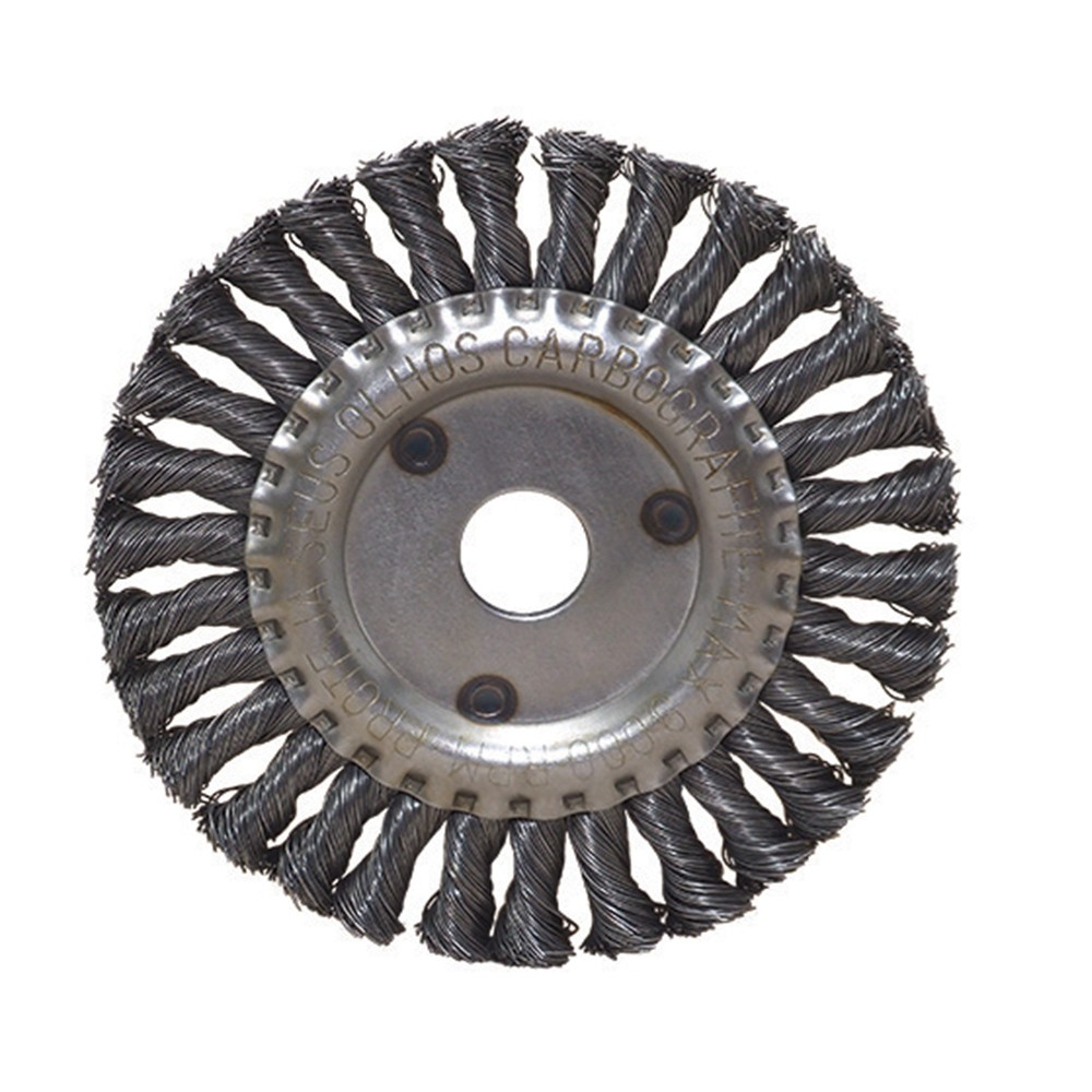 """Escova de Aço Carbono CARBOGRAFITE Circular Trançada 6"""" x 1/2"""" x 7/8"""" - 11000 Rotação (rpm)"""