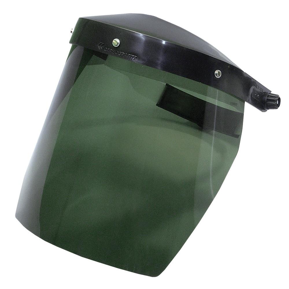 """Face Shield Protetor Facial CARBOGRAFITE Verde 8"""" Com Catraca"""