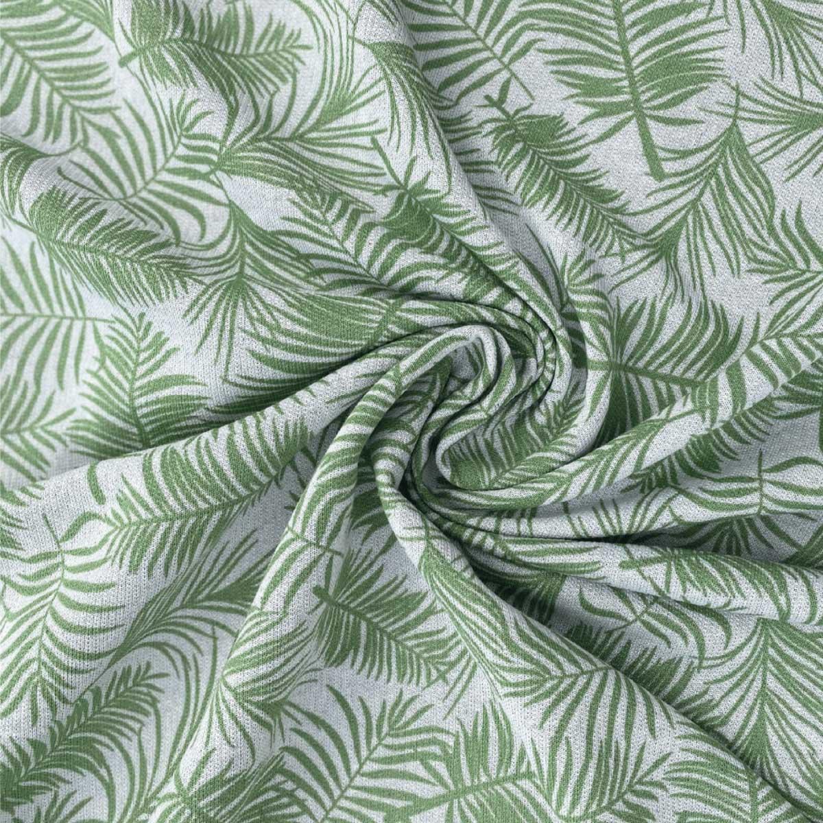 Moletom Careca Sustentável Estampado Folhas - Corte com 4 metros