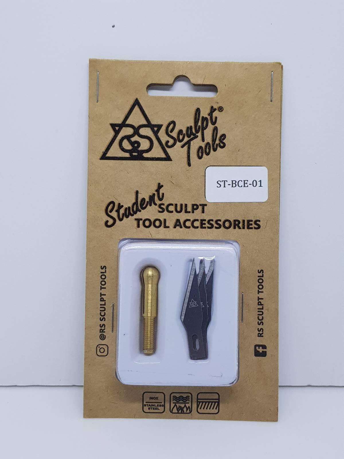 Blister com três lâminas e pinça de adaptação para utilizar no cabo intercambiável