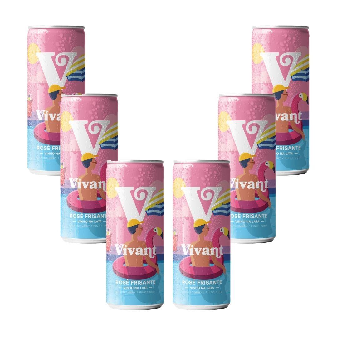 Kit com 6 Frisantes Rosé em Lata Vivant Wines 269ml
