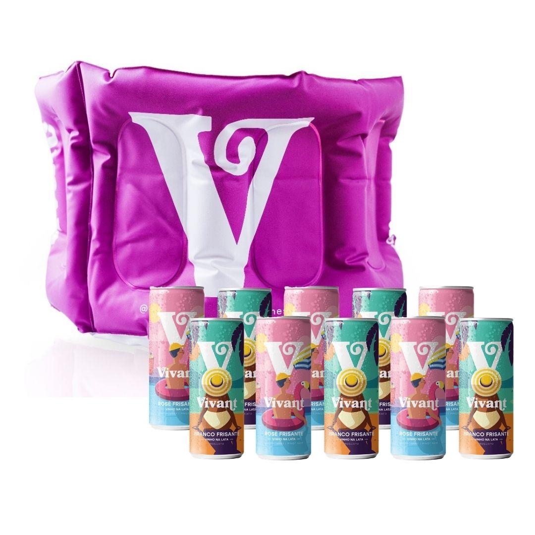 Kit Vivant com 1 Boia Porta Gelo, 5 Frisantes Moscato e 5 Rosé