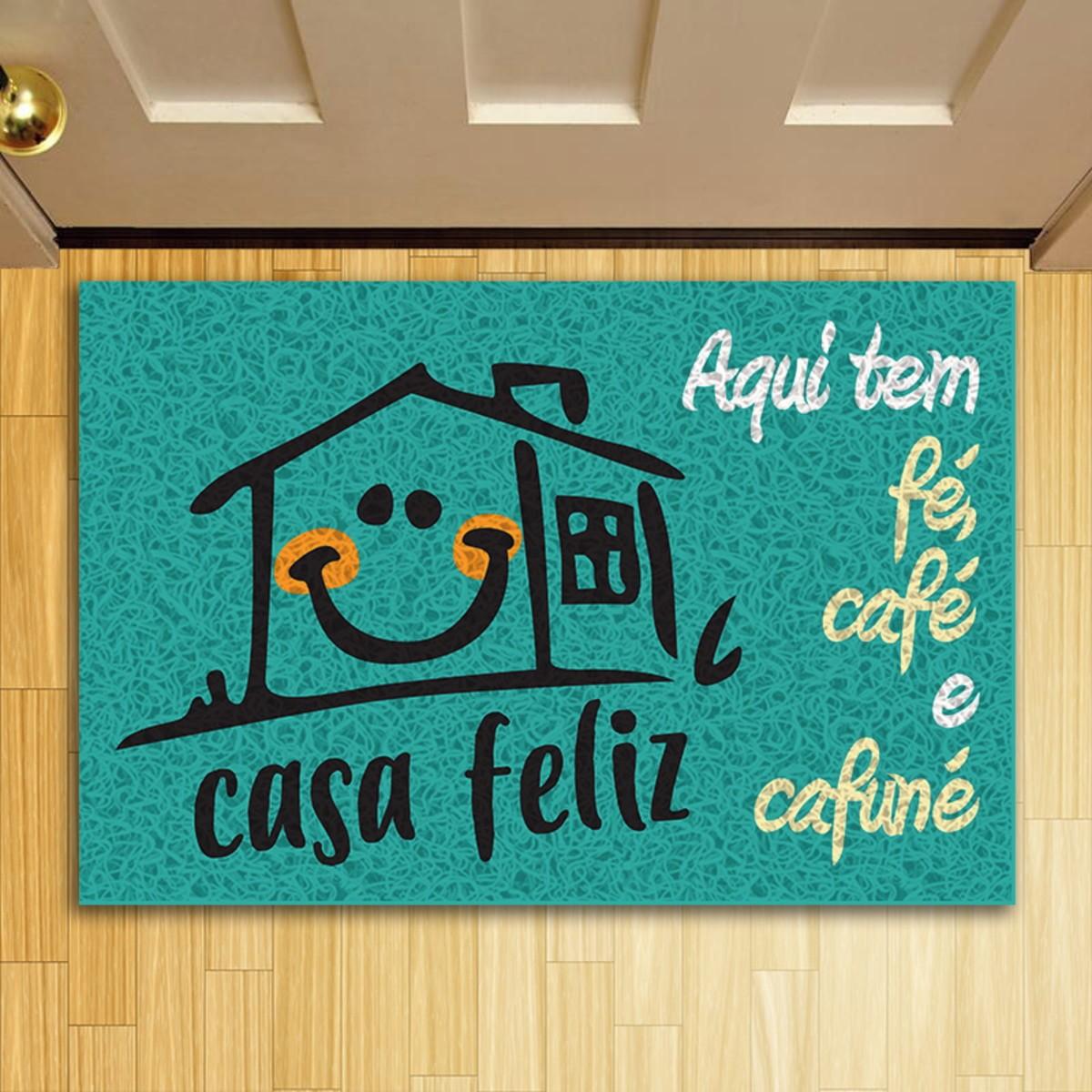 TAPETE CAPACHO AQUI TEM CAFÉ FÉ E CAFUNÉ