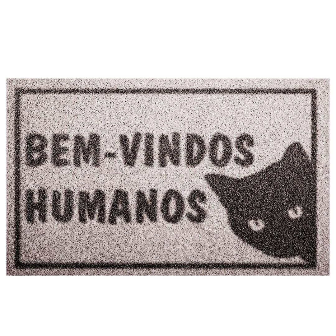 Tapete Capacho Bem Vindo Humanos (Gato)