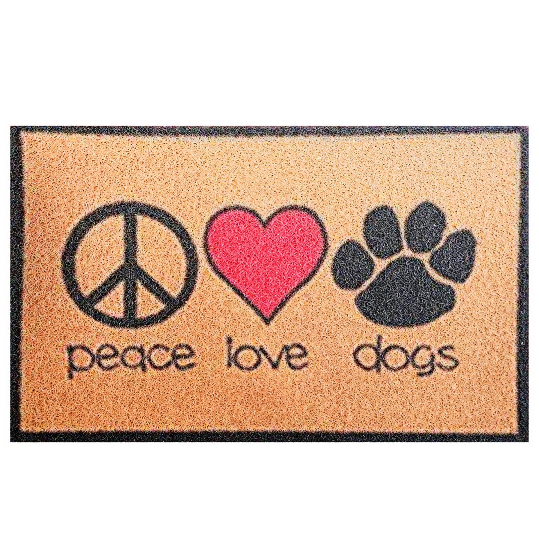 Tapete Capacho Bem Vindo Paz Amor Cachorro