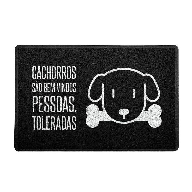 TAPETE CAPACHO CACHORROS SÃO BEM VINDOS, PESSOAS TOLERADAS.