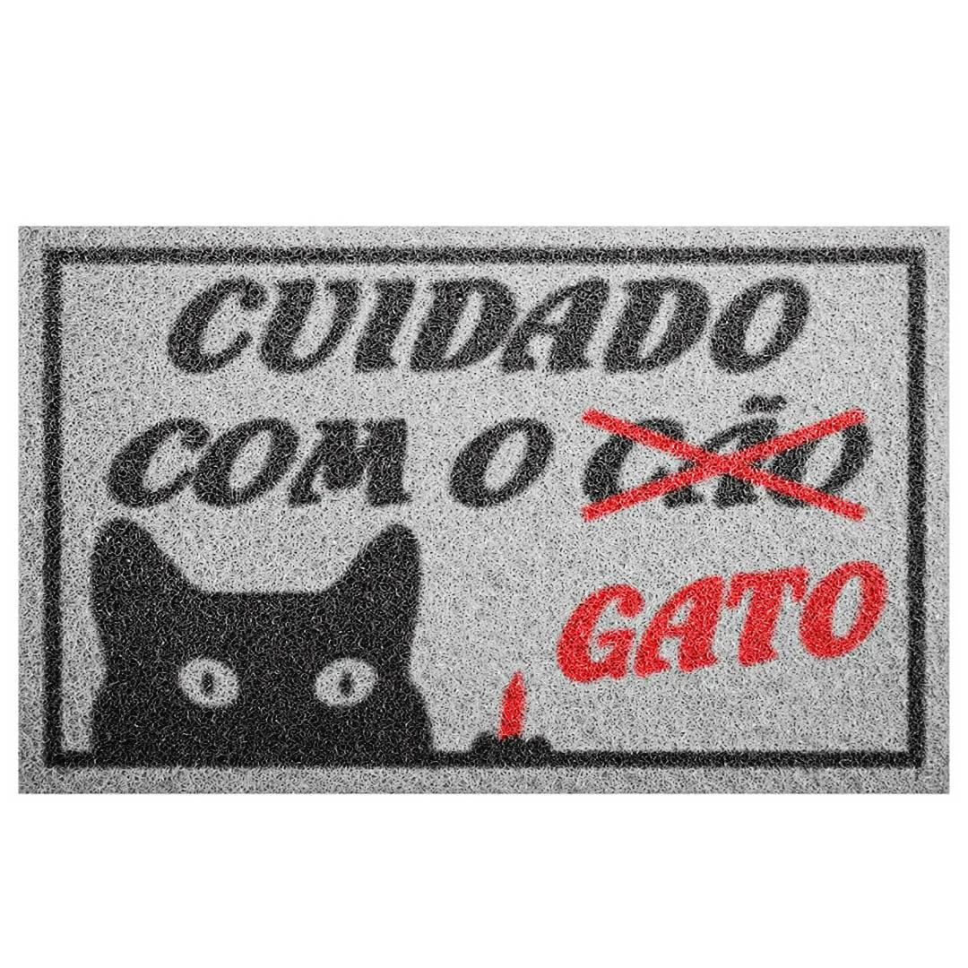 Tapete Capacho Cuidado Com O Gato