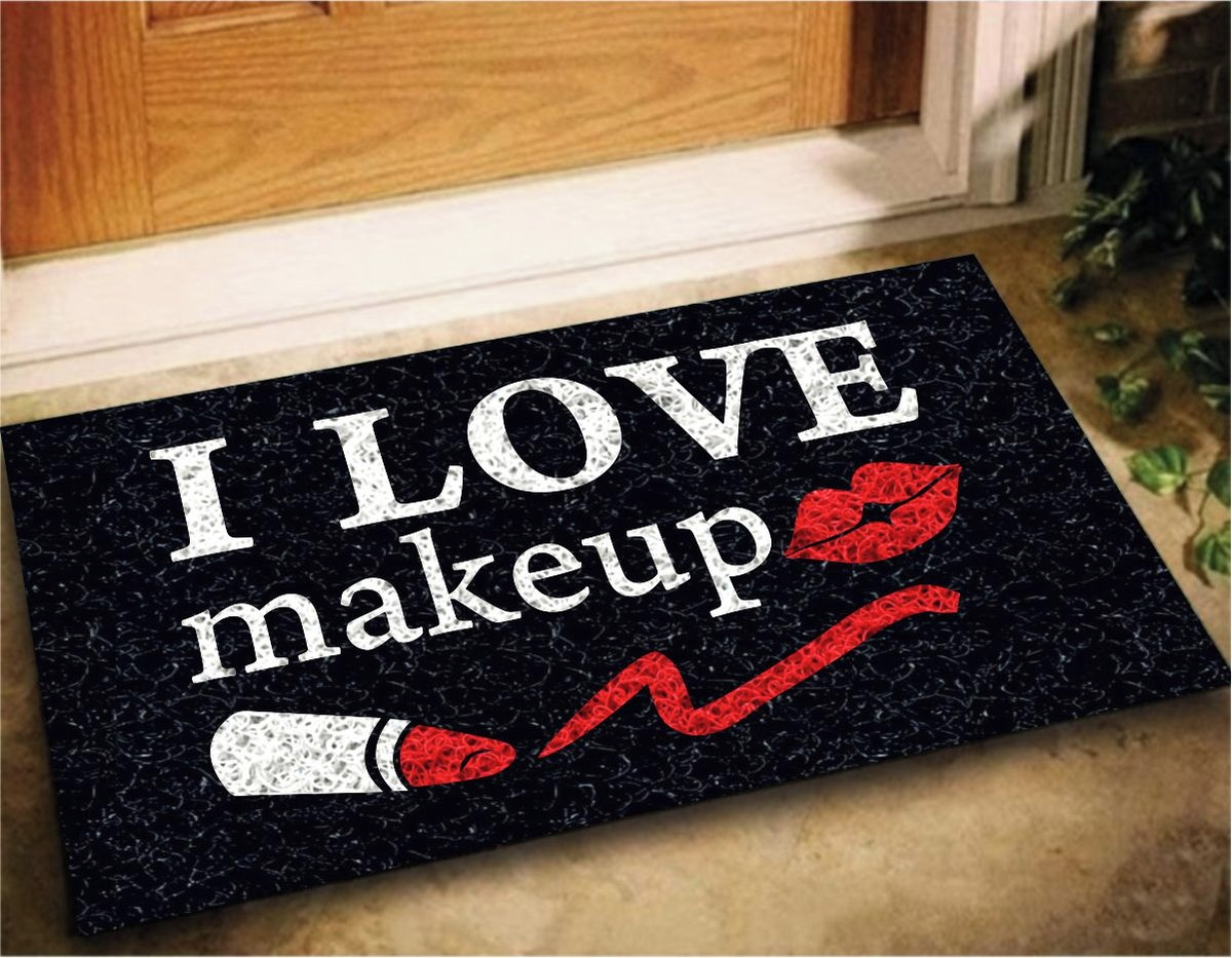 Tapete Capacho Divertido 'I Love Makeup'