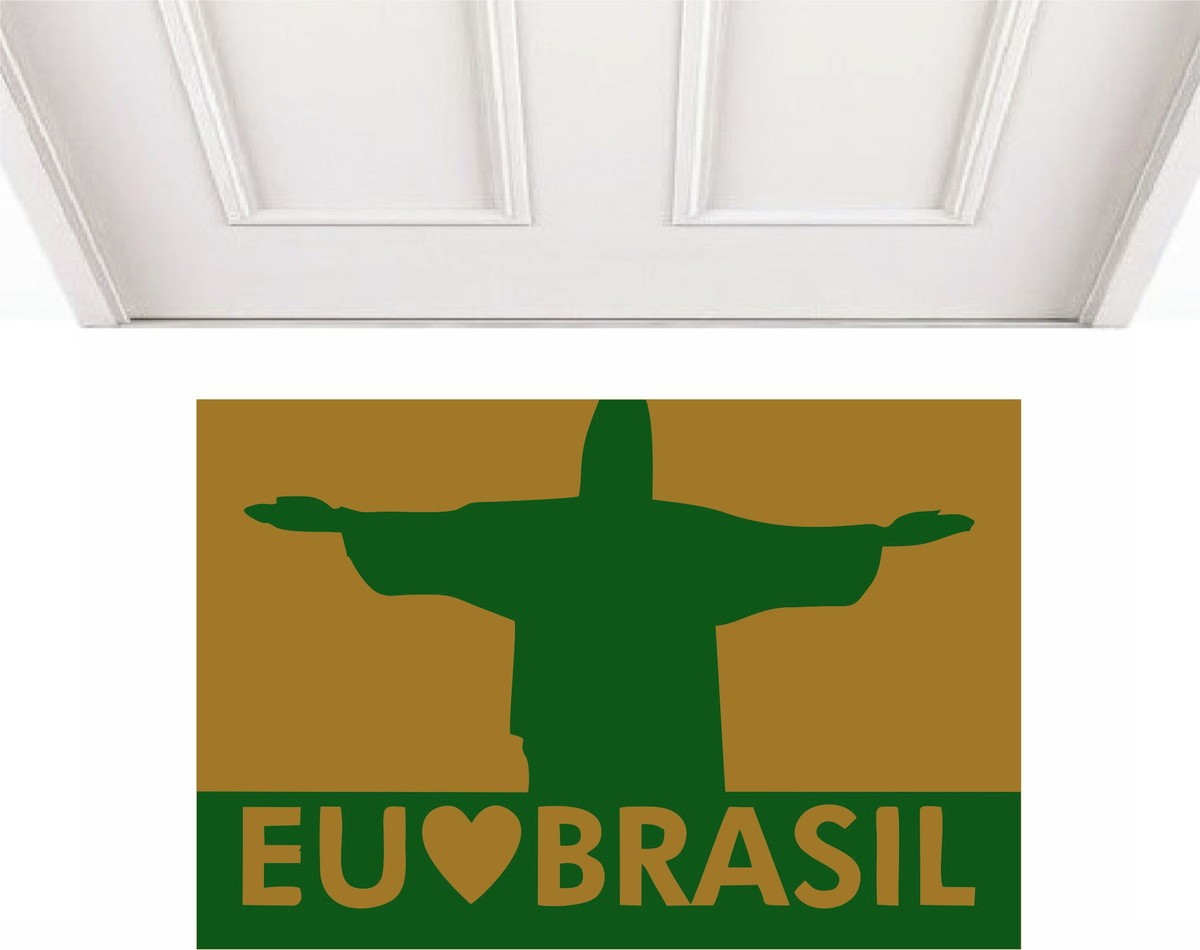 Tapete Capacho Eu Amo O Brasil Cristo Redentor
