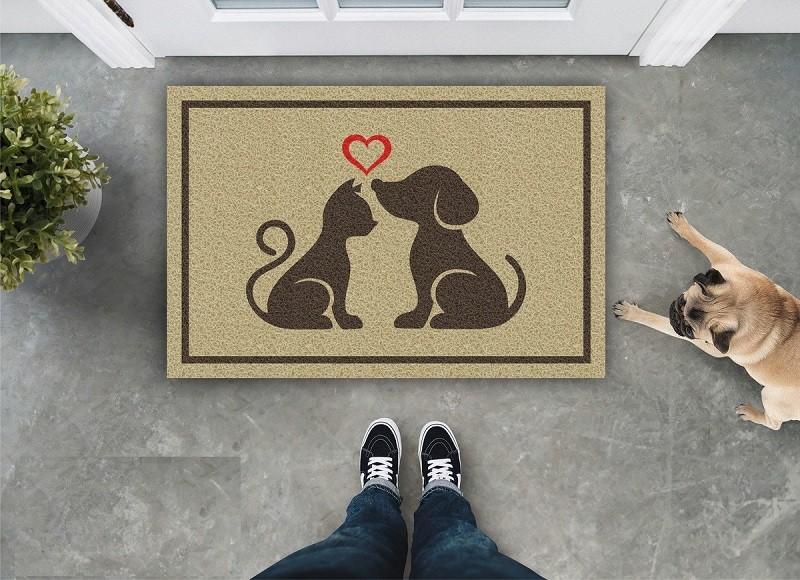 Tapete Capacho Gato E Cachorro