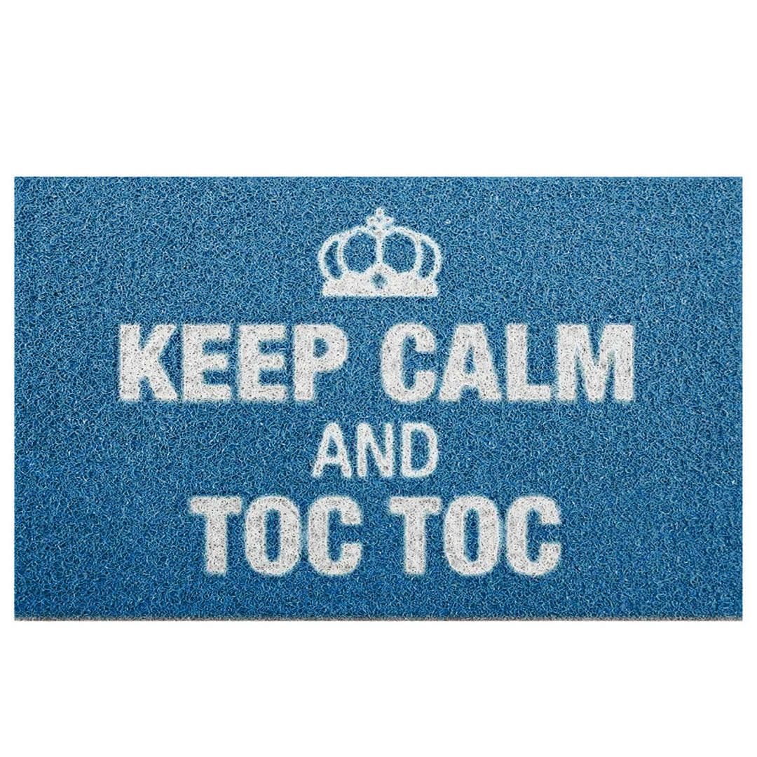 Tapete Capacho 'Keep Calm And Toc Toc'