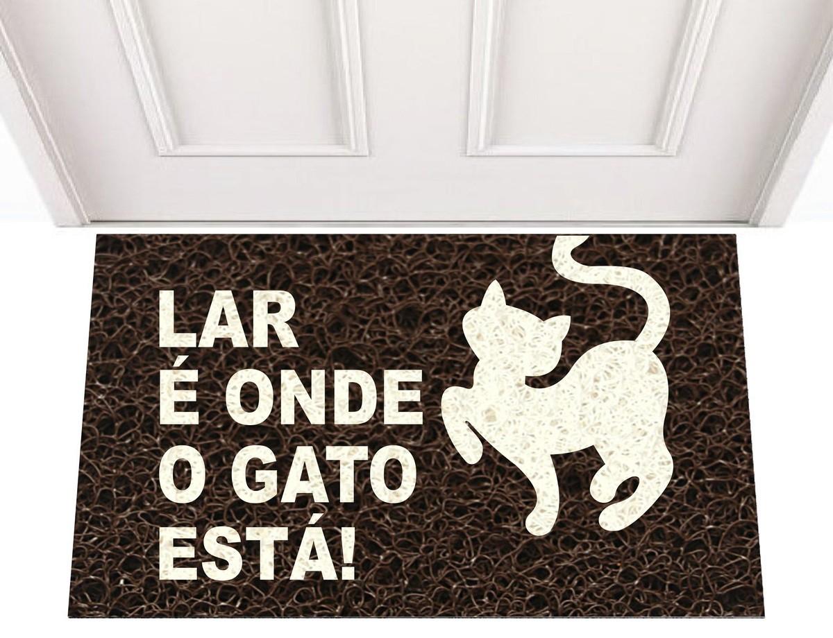TAPETE CAPACHO LAR É ONDE O GATO ESTÁ