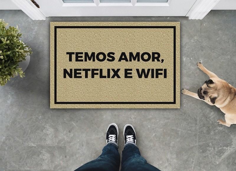 Tapete Capacho Temos Amor Wifi E Netflix