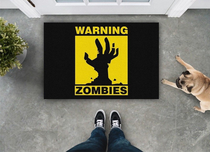 Tapete Capacho Warning Zombies