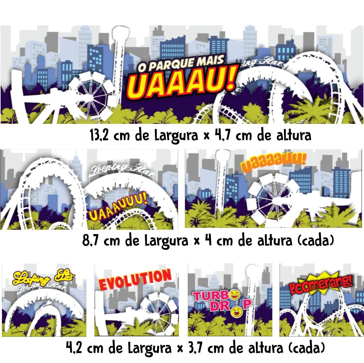 """Coleção """"Parque Mais Uau"""" com 7 Adesivos"""