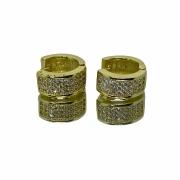 Brinco Argola Chapado Cravejado em Zircônia 30 Pedras (2,9g) (banho ouro 18K)