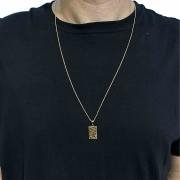 Corrente Veneziana 1,2mm 70cm (5g) (Fecho Tradicional) (Banho Ouro 18k) + Pingente Placa ''O senhor é Meu Pastor'' (2g) (Banho Ouro 18k)