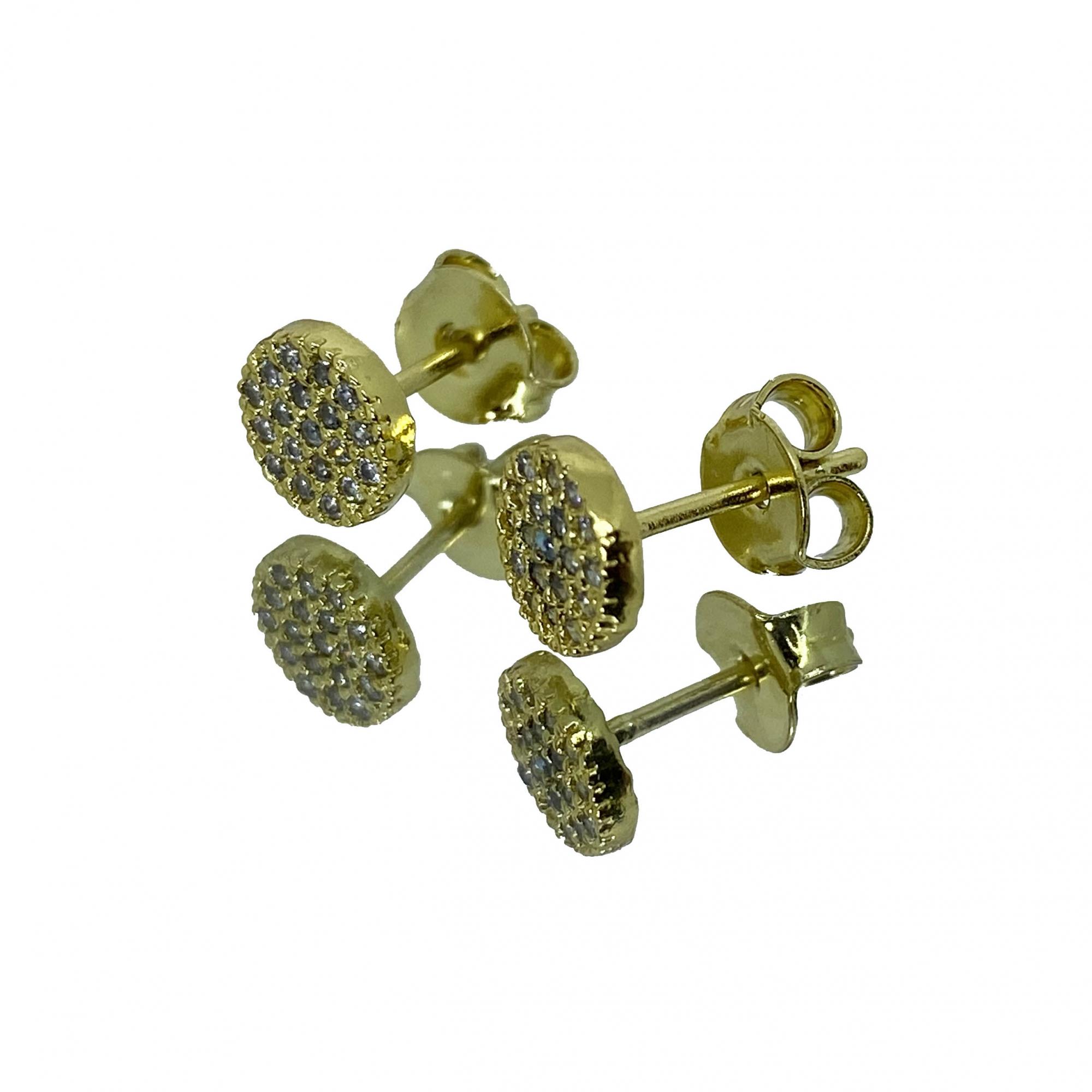 Brinco Redondo 14 pedras (1,5g) 6x6mm (Banho Ouro 18k)