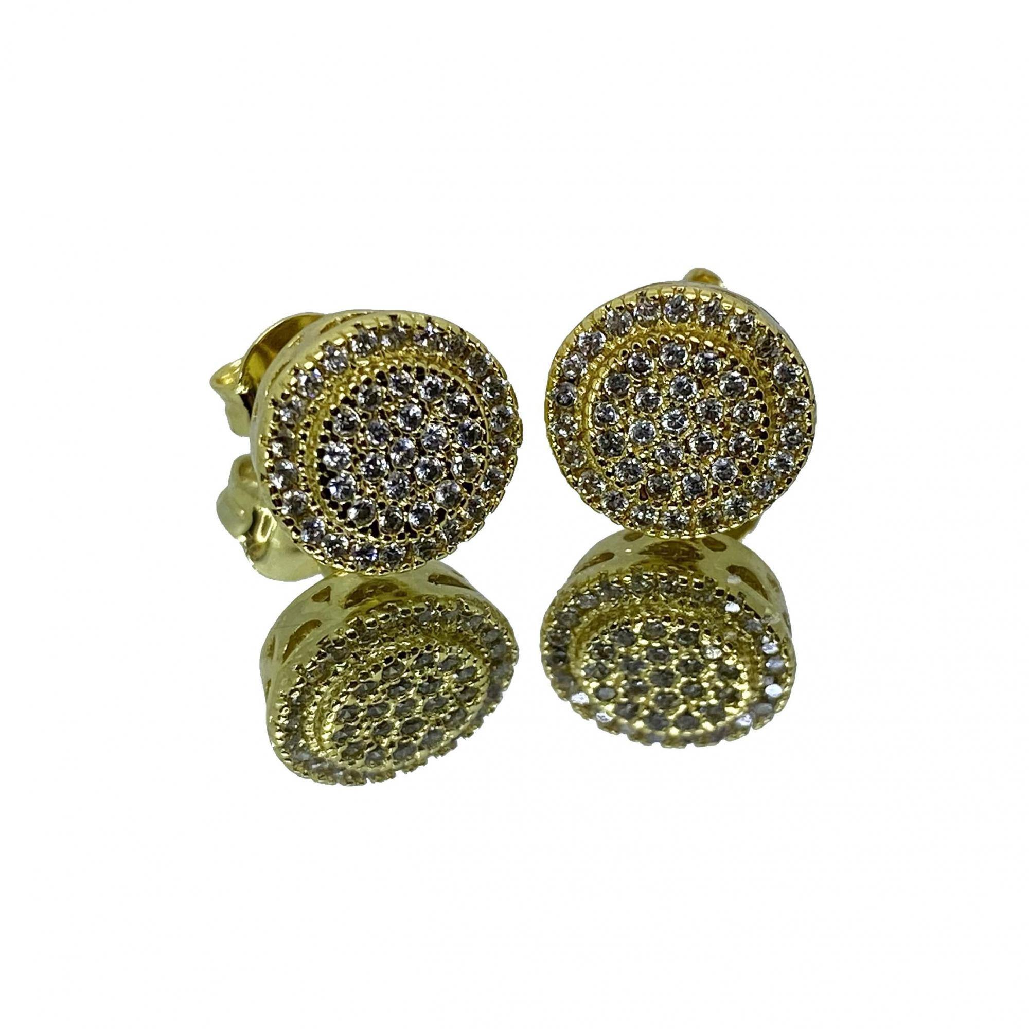 Brinco Circular 40 Pedras de Zircônia (2,6g) (Banho Ouro 18k)