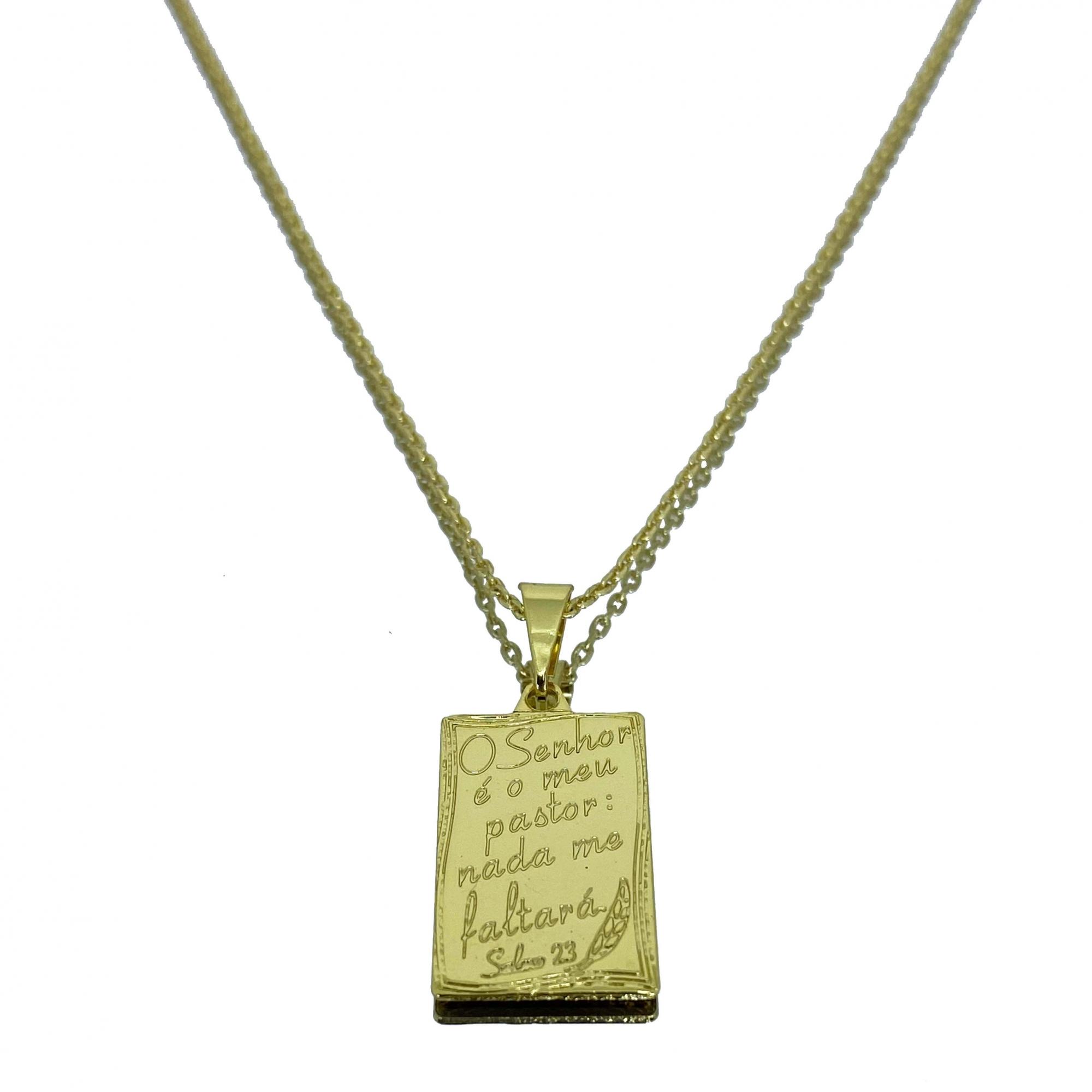 Corrente Cartier Cadeado + Pingente Placa ''O senhor é Meu Pastor'' (2g) (Banho Ouro 18k)