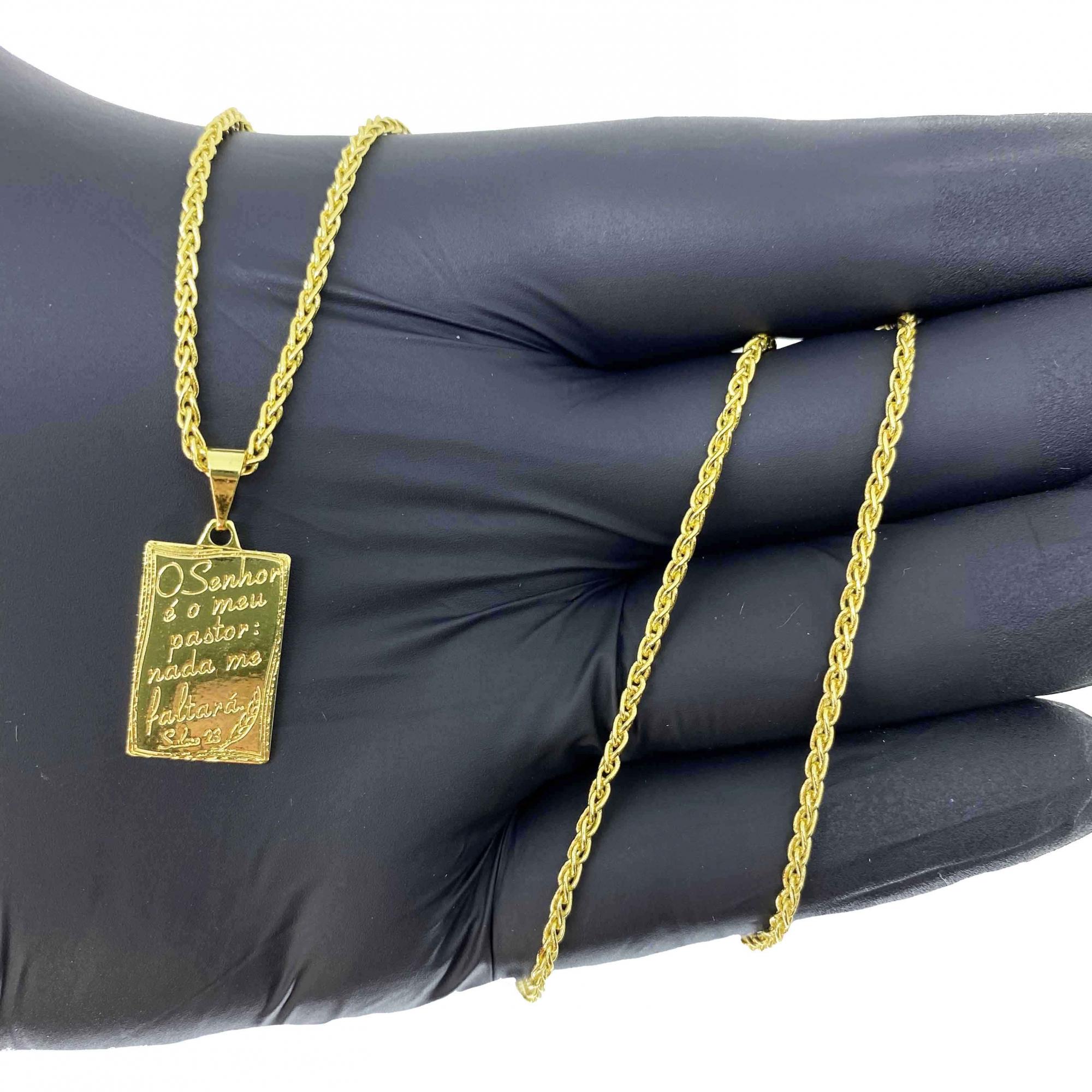 Corrente Peruana 2mm 70cm 7,5g + Pingente Placa ''O senhor é Meu Pastor'' (2g) (Banho Ouro 18k)