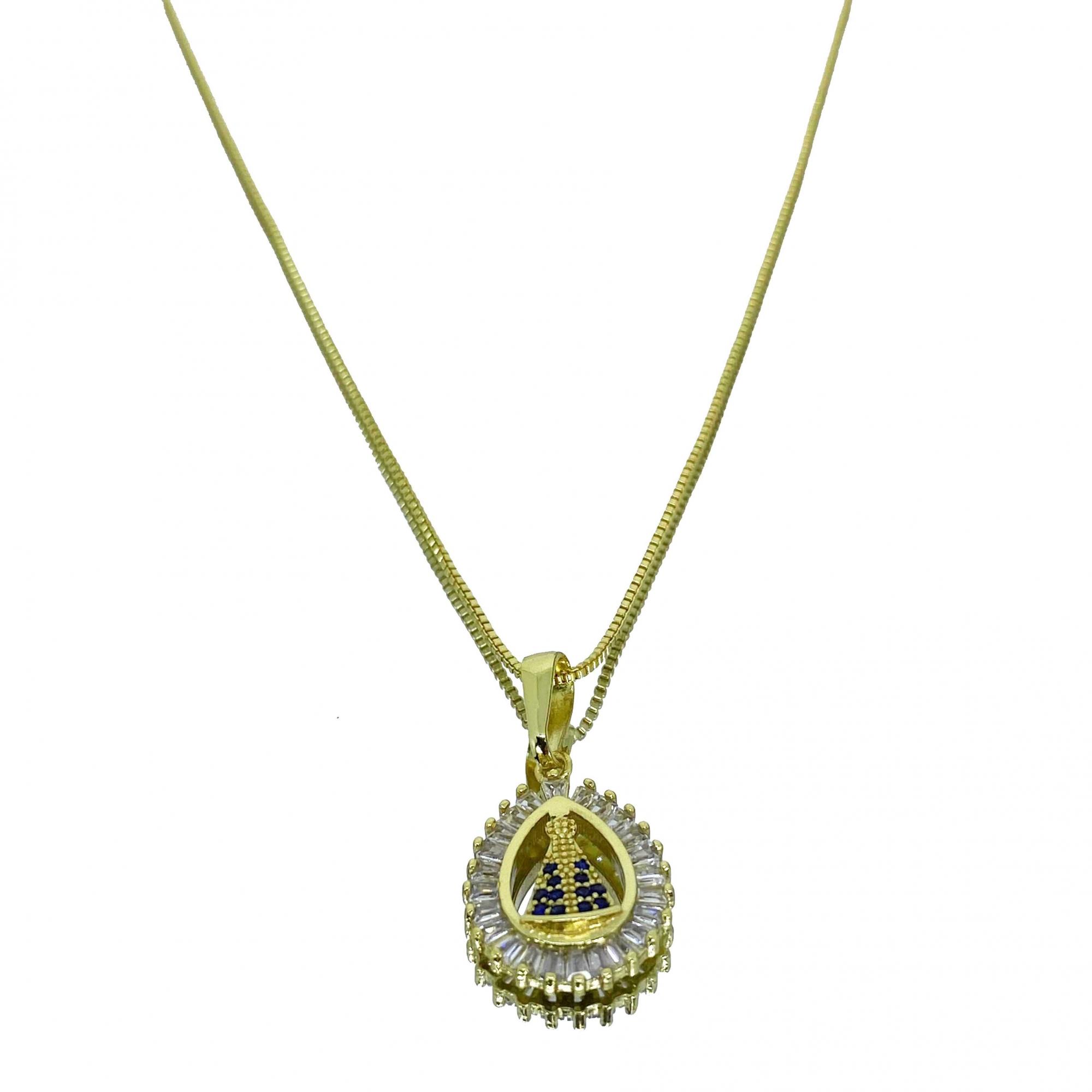 Corrente Veneziana 1,2mm 70cm (5g) (Fecho Tradicional) (Banho Ouro 18k) + Pingente Nossa Senhora Gota 1,6x1.3cm (1,9g) (Banho Ouro 18k)
