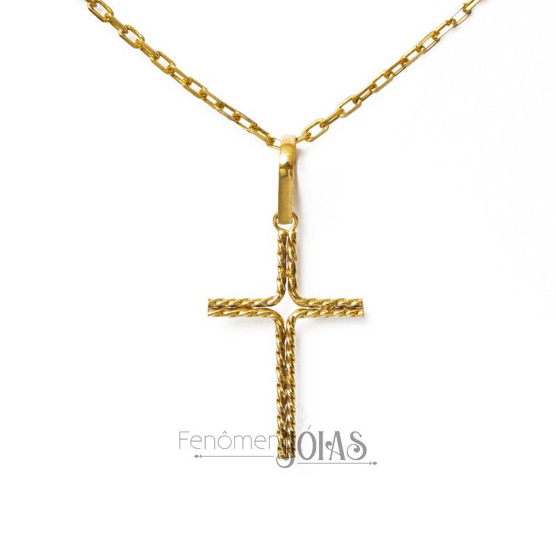 Pingente feito de moeda antiga cruz pequena torcido