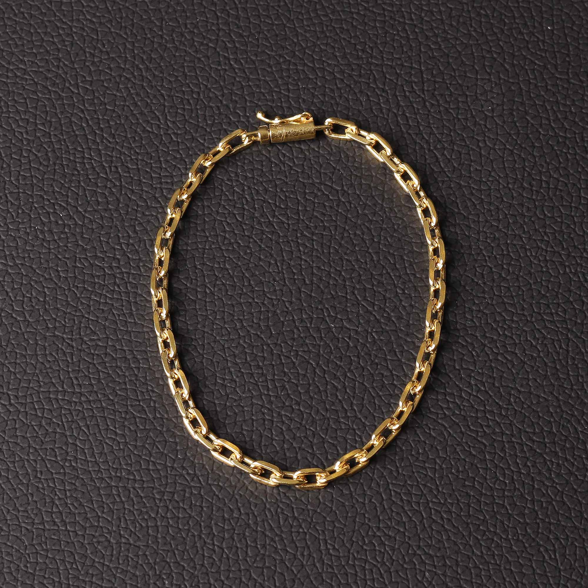 Pulseira cadeado elo de quina 4mm feito de moeda antiga