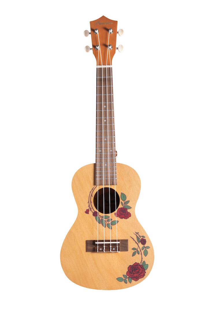 """Ukulele Concert Bamboo 23"""" Roses"""