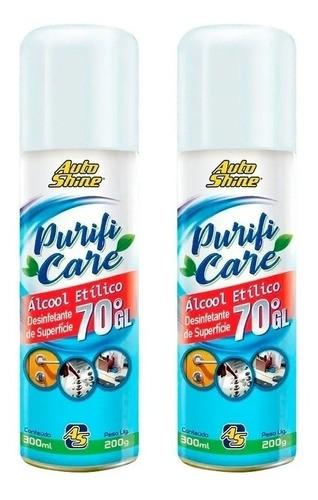 Kit 2 Desinfetante Etílico 70% Automotivo Spray 300ml