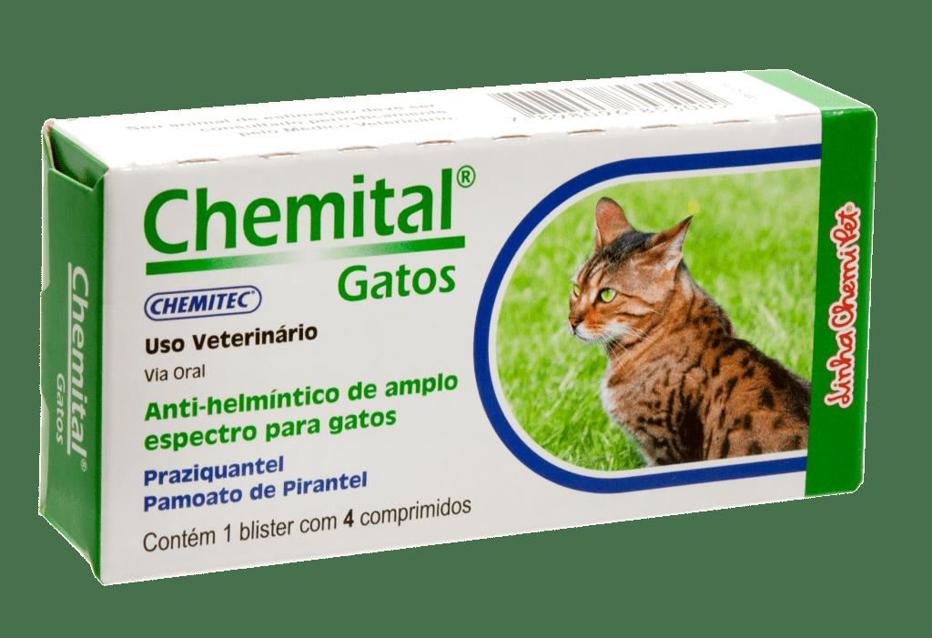 VERMÍFUGO CHEMITAL GATOS C/ 4 COMPRIMIDOS