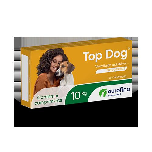 VERMÍFUGO TOP DOG P/ CÃES ATÉ 10KG C/ 4 COMPRIMIDOS