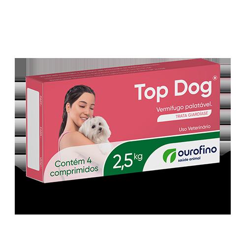 VERMÍFUGO TOP DOG P/ CÃES ATÉ 2,5KG C/ 4 COMPRIMIDOS