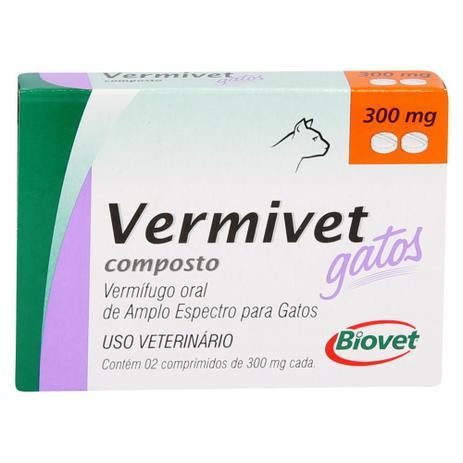 VERMÍFUGO VERMIVET GATOS 300MG C/ 2 COMPRIMIDOS