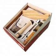 Kit Caipirinha 5 peças HMartin inclui Copo Decorado + Faca + Colher e Tábua de Corte