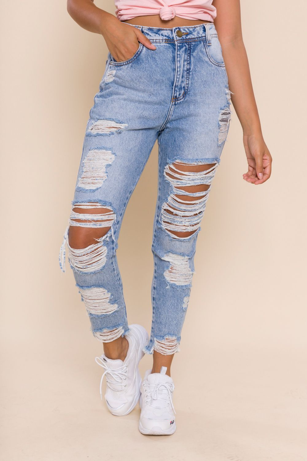 CALÇA JEANS CROPPED MOM LIA
