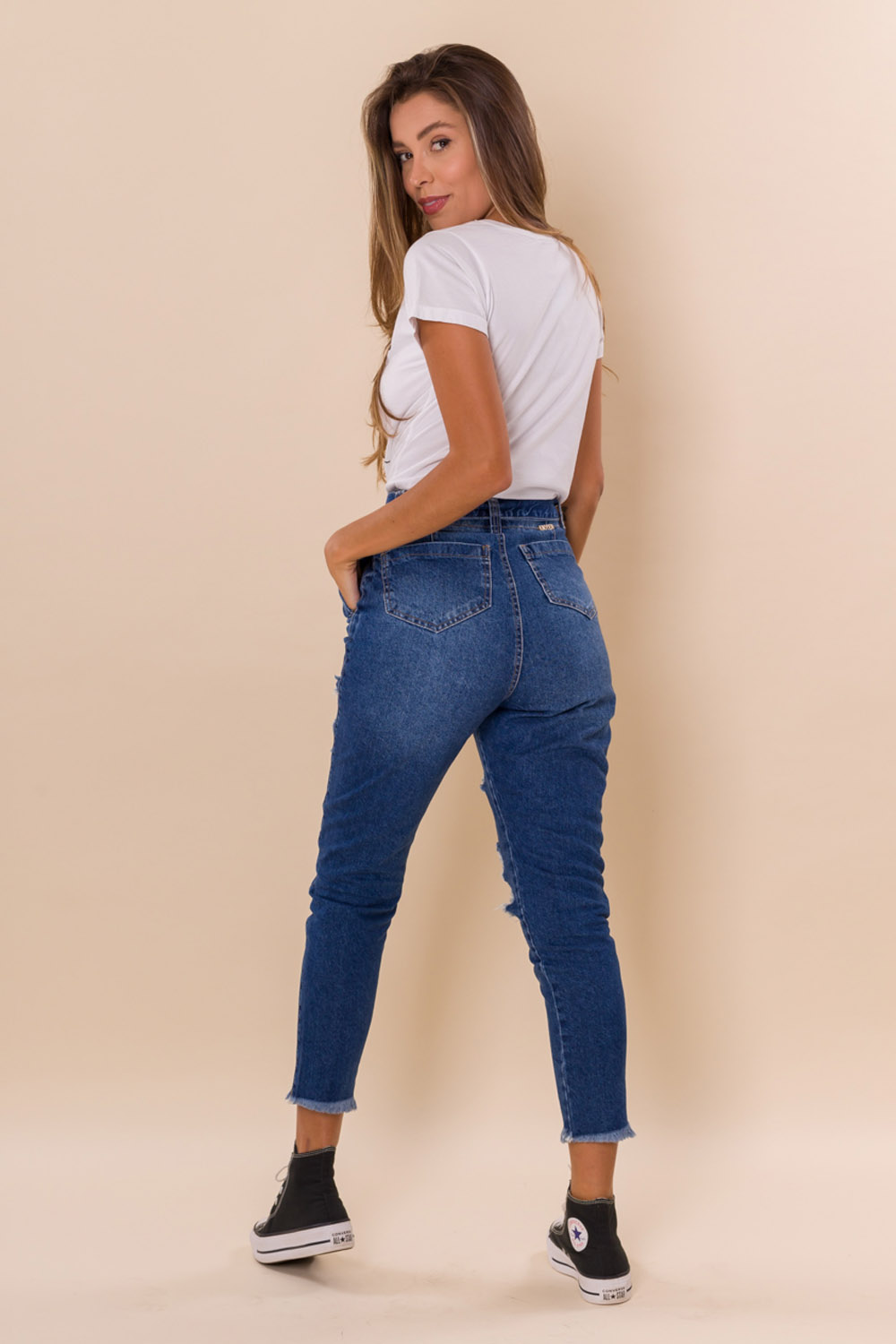 CALÇA JEANS CROPPED SLOUCHY DESIRE