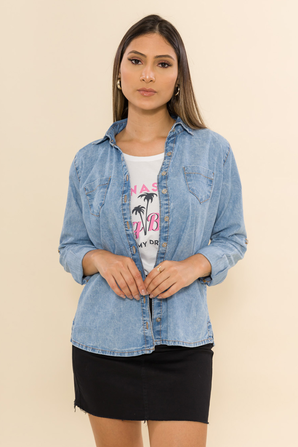 CAMISETE JEANS KEYTE - JEANS CLARO
