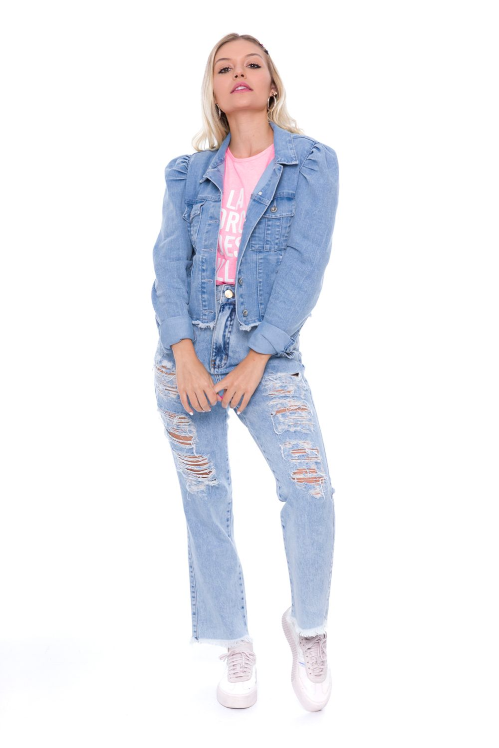 JAQUETA JEANS CROPPED BUFANTE