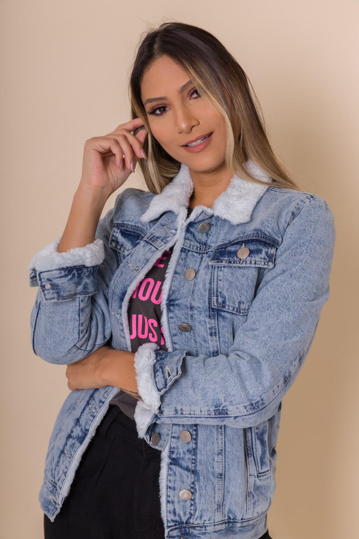 JAQUETA JEANS  FORRADA ALONGADA DIANDRA