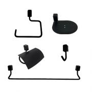 Kit Acessórios Black com 5 peças para Banheiro Città Steel Design
