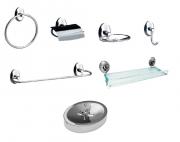 Kit Acessórios de Metal com 6 peças Steelo Oval + Saboneteira para bancada com reservatório