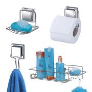 Kit Banheiro Acessórios com Ventosa 4 peças Cromado