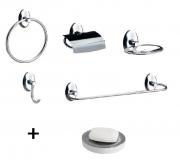 Kit de Acessórios Metal com 5 Peças Steelo Oval + Saboneteira de Inox para bancada com reservatório