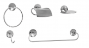 Kit de Acessórios para Banheiro de Alumínio e Aço Inox Linha Steelo 5 peças Redondo